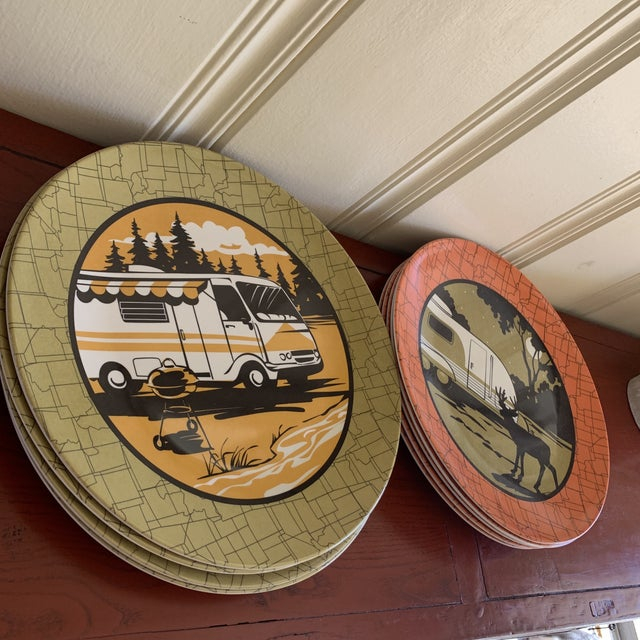 Camping Outdoor Dining Trailer Park Plates, Set of Eight For Sale - Image 9 of 12