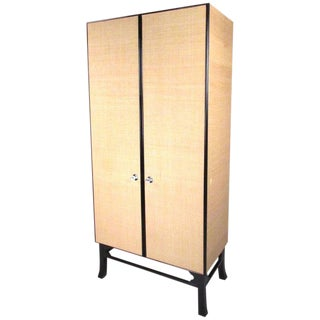 Burlap Covered Wardrobe Cabinet With Ebonized Base