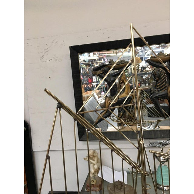 "1970s Curtis Jere ""Skeleton"" Sailboat Wall Sculpture in Brass For Sale - Image 5 of 9"