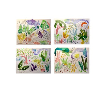 Original Watercolor Painting on Arches Cold Press Set of 4 Paintings For Sale