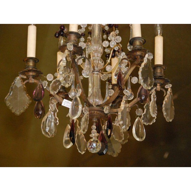 French Bronze & Crystal Chandelier For Sale - Image 4 of 4