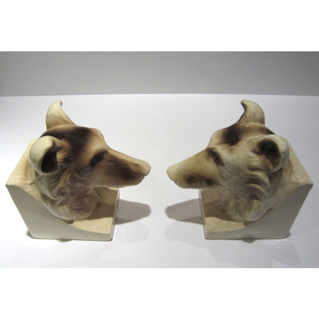 1950s Vintage Ceramic Dog Bookends - A Pair For Sale - Image 10 of 13