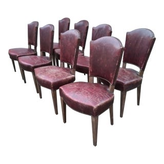 1950s Leather Dining Chairs - Set of 8 For Sale