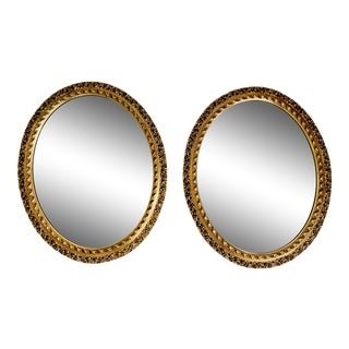 Pair of Neoclassical Oval Gilt Carved Mirrors For Sale