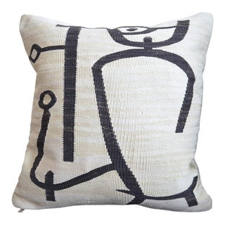 Paul Klee - Lady Apart (Dame Abseits) - Inspired Silk Hand Woven Pillow Cover - 18″ X 19″ For Sale