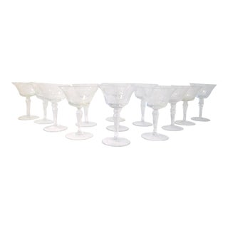 Mid-Century Floral & Grape Etched Cocktail Glasses - Set of 12 For Sale
