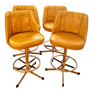 1970s Mid Century Faux Leather Adjustable Swivel Barstools - Set of 4 For Sale
