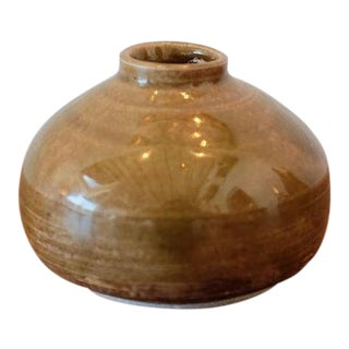 Handmade Mustard Glaze Studio Pottery Ceramic Vessel For Sale