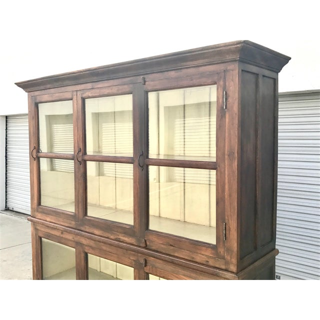 Traditional Antiqued Reclaimed Library Wood Vitrine For Sale - Image 3 of 11