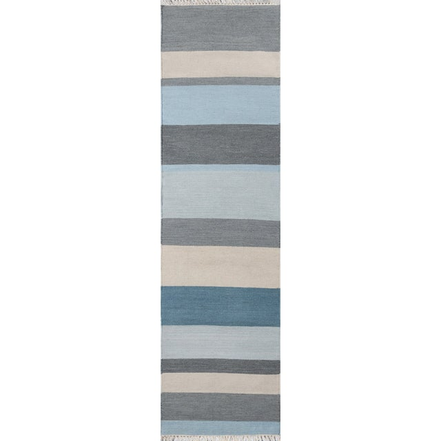 "2010s Erin Gates Thompson Brant Point Blue Hand Woven Wool Runner 2'3"" X 8' For Sale - Image 5 of 5"