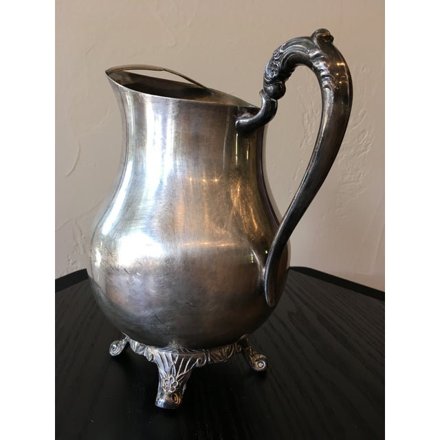 Mid 20th Century Mid-20th Century Art Nouveau Rogers Silver Co. Silverplate Ornate Pitcher For Sale - Image 5 of 9
