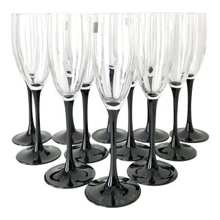 Vintage Luminarc France Black Stem Champagne Flute Glasses - Set of 12