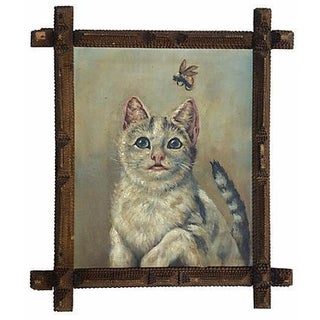 Cat with Bumble Bee Portrait Painting For Sale