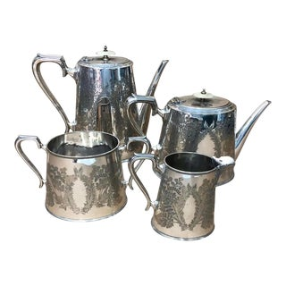 1870s English Victorian Walker & Hall Silver Plated Tea Set For Sale