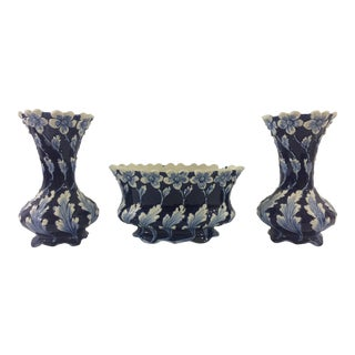 Blue and White French Majolica Vases and Cachepot - Set of 3 For Sale