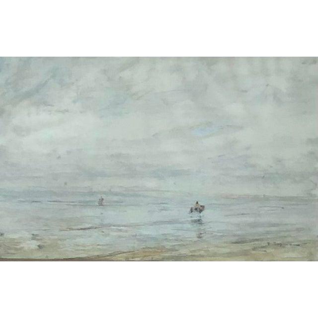 Framed Edwardian Era Oil on Board of Shrimp Fisherman by German Artist Julius Seyler. Provenance to the James J. Hill...