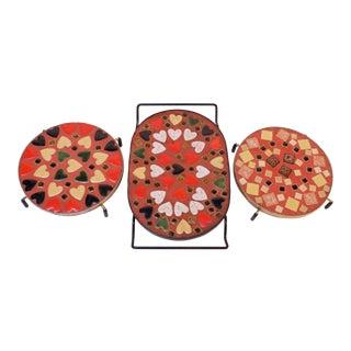 Set of Three Mid-Century American Modern Mosaic Trivets For Sale