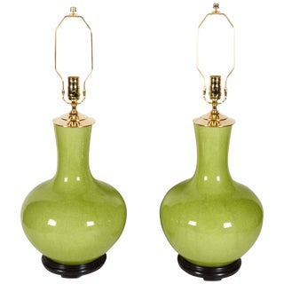 Pair of Chinese Chartreuse Color Craquelure Table Lamps For Sale