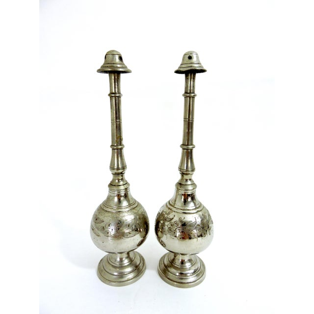 Pair of hand chased silver plated Persian incense burners or censers with detachable 'chimneys' - quite unusual in style....