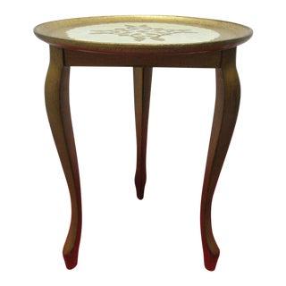 Vintage Italian Regency Distressed Gold Gilt Lamp End Pedestal Table