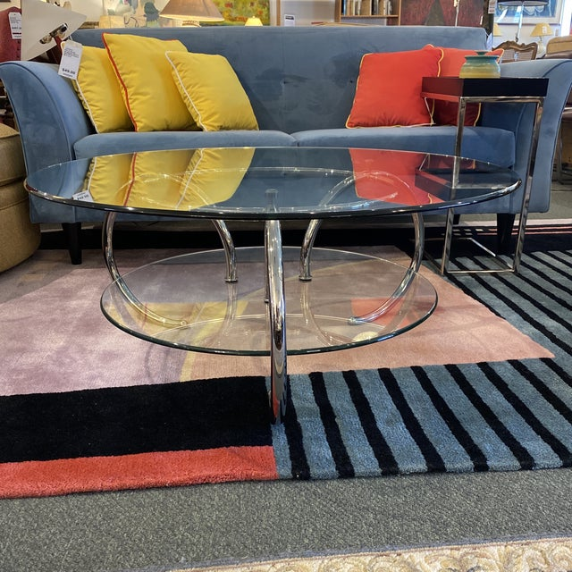 Mid 20th Century Glass & Polished Chrome Coffee Table For Sale - Image 4 of 12