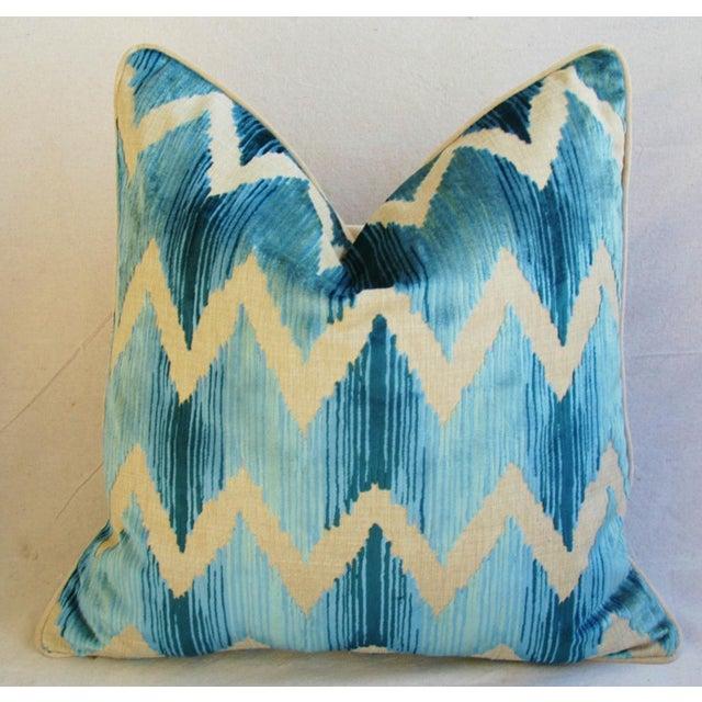 "Boho Chic Chevron Flamestitch Cut Aqua Velvet Feather/Down Pillows 24"" Square - a Pair For Sale - Image 11 of 15"