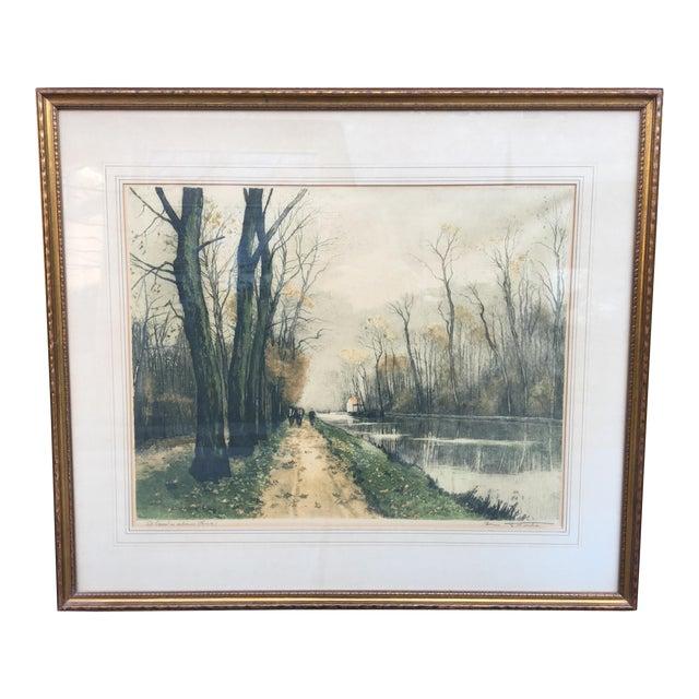 """Canal en Automne (France)"" Signed Henri Jourdain Color Etching For Sale"