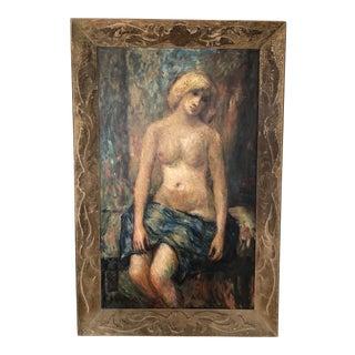 Large American Primitive Folk Art Original Painting For Sale