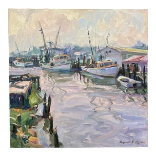 """""""Shrimp Trawlers"""" Coastal Nautical Oil Painting by James P. Kerr For Sale"""