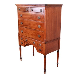 Antique Mahogany 10-Drawer Highboy Chest of Drawers, Circa 1910 For Sale