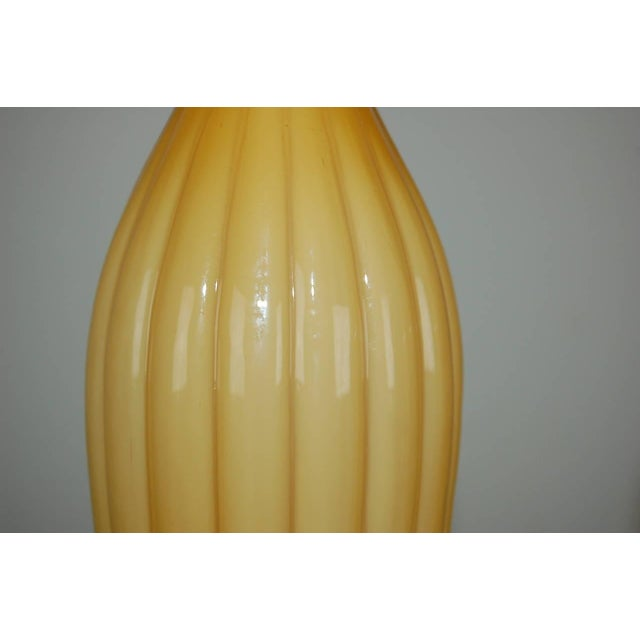 Murano Vintage Murano Glass Pleated Table Lamps in Butterscotch For Sale - Image 4 of 10