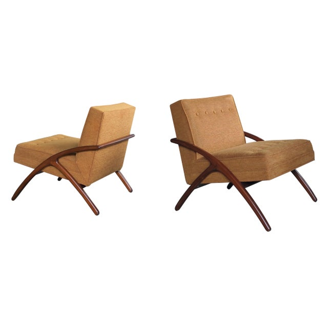 Fabric A Sleek and Stylish Pair of American 1960's Ash Grasshopper Chairs For Sale - Image 7 of 7