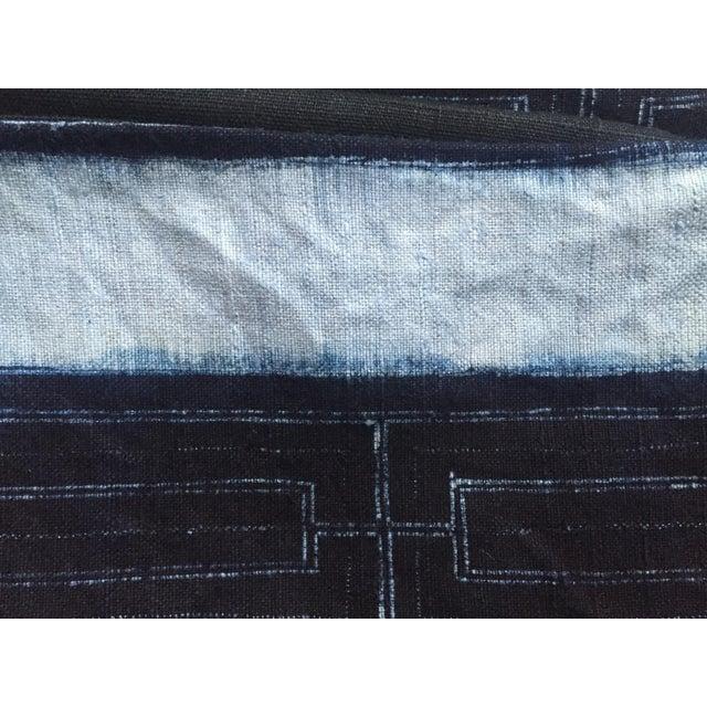 Rustic Indigo Stripe Hmong Lumbar Pillow Cover - Image 7 of 8