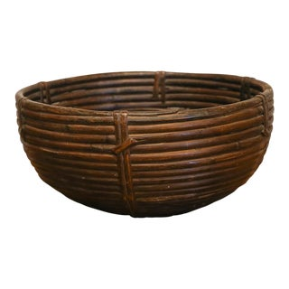 Vintage Wicker Farm Basket For Sale
