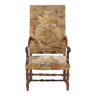 Antique Louis XIII Style Aubusson Tapestry Fauteuil For Sale
