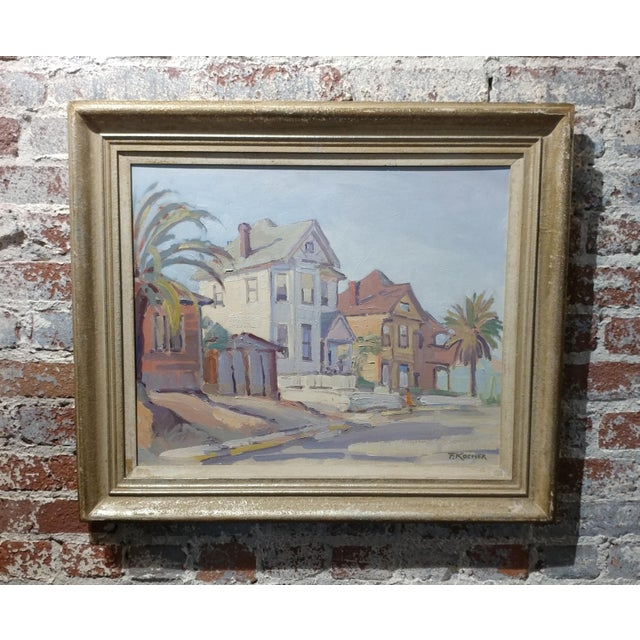 """Fritz Kocher - Los Angeles 1959 -Sunset Blvd and Bunkerhill -Original Oil Painting on board. frame size 25 x 29"""" board..."""