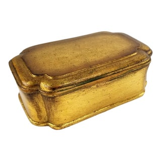 Vintage Borghese 8-Sided Gold Gilt Chalkware Trinket Box & Lid For Sale