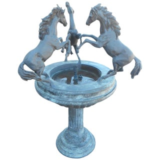 Bronze Horse Fountain on a Pedestal Base For Sale