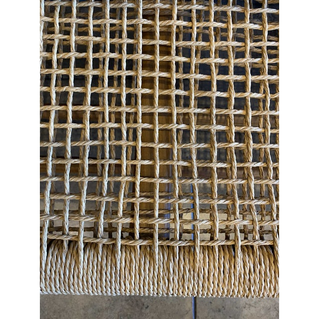 Brown Woven Cord and Teak Bench For Sale - Image 8 of 10