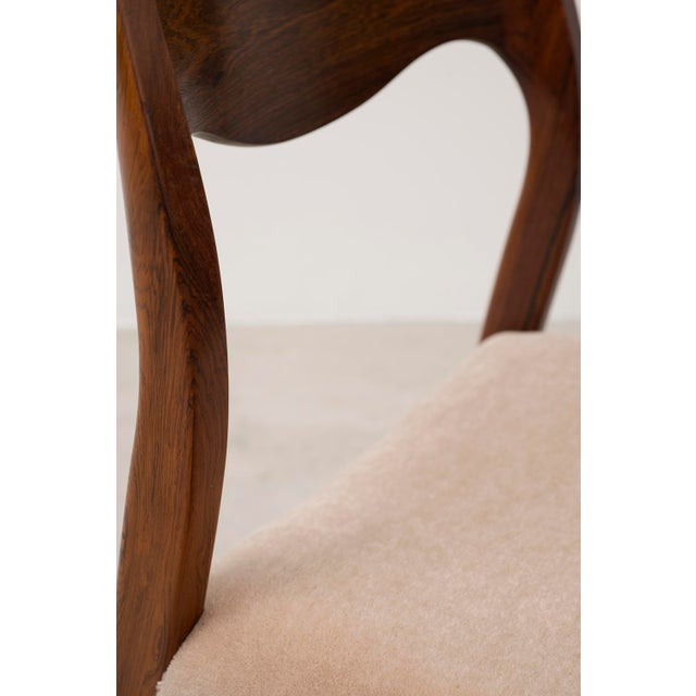 Wood Set of Six Niels Moller Dining Chairs Model #71 in Rosewood and Velvet Mohair For Sale - Image 7 of 11