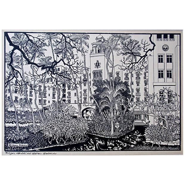A woodblock print of the Royal Hawaiian Hotel by Trace Purcell that is signed on the lower left of the image. Trace...