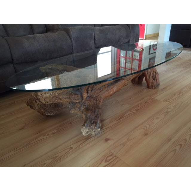 Driftwood Base Coffee Table With Glass Top - Image 4 of 9