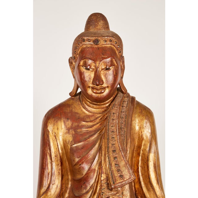 Very Large 19th Century Gold Thai Standing Buddha - Image 5 of 7