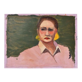"Clair Seglem Bougie Portrait Painting of a Woman in Pink - 18"" X 13"" For Sale"