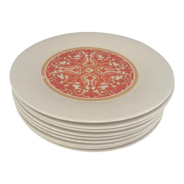 1970's Royal Doulton Orange Flower Dinner Plates S/9 - Image 1 of 9