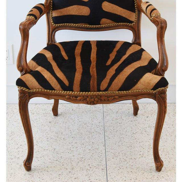 1950s Carved Hardwood & Tiger Cowhide Upholstered Armchair For Sale - Image 4 of 13