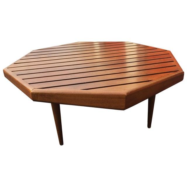 Mid-century Octagonal Walnut Slat Coffee Table - Image 1 of 7