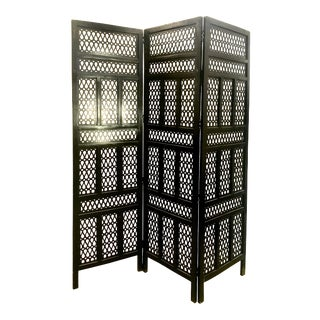 Satin Black Painted Wooden Tripartite Screen For Sale