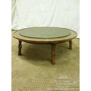 Romweber Viking Oak Round Leather Top Copper Bound Coffee Table Preview