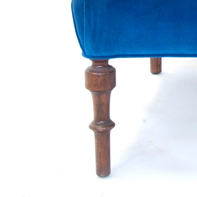 Blue Edwardian English Arm Chair and Foot Stool For Sale - Image 8 of 12